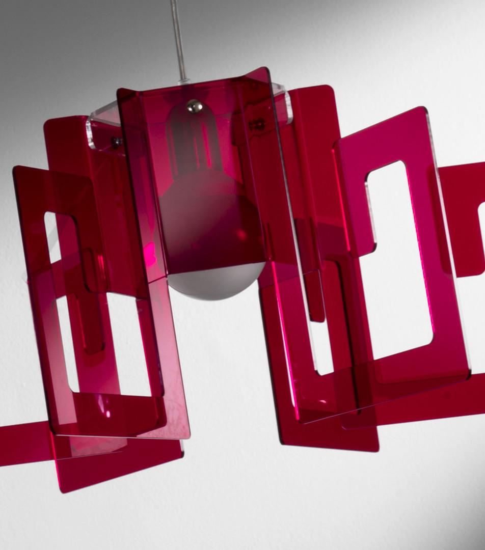 Lampada Korona - sospensione in metacrilato - rosso