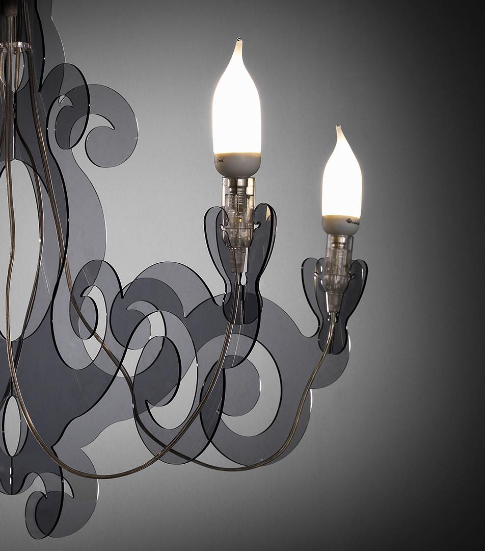 Lampada Barocco - sospensione in metacrilato - trasparente
