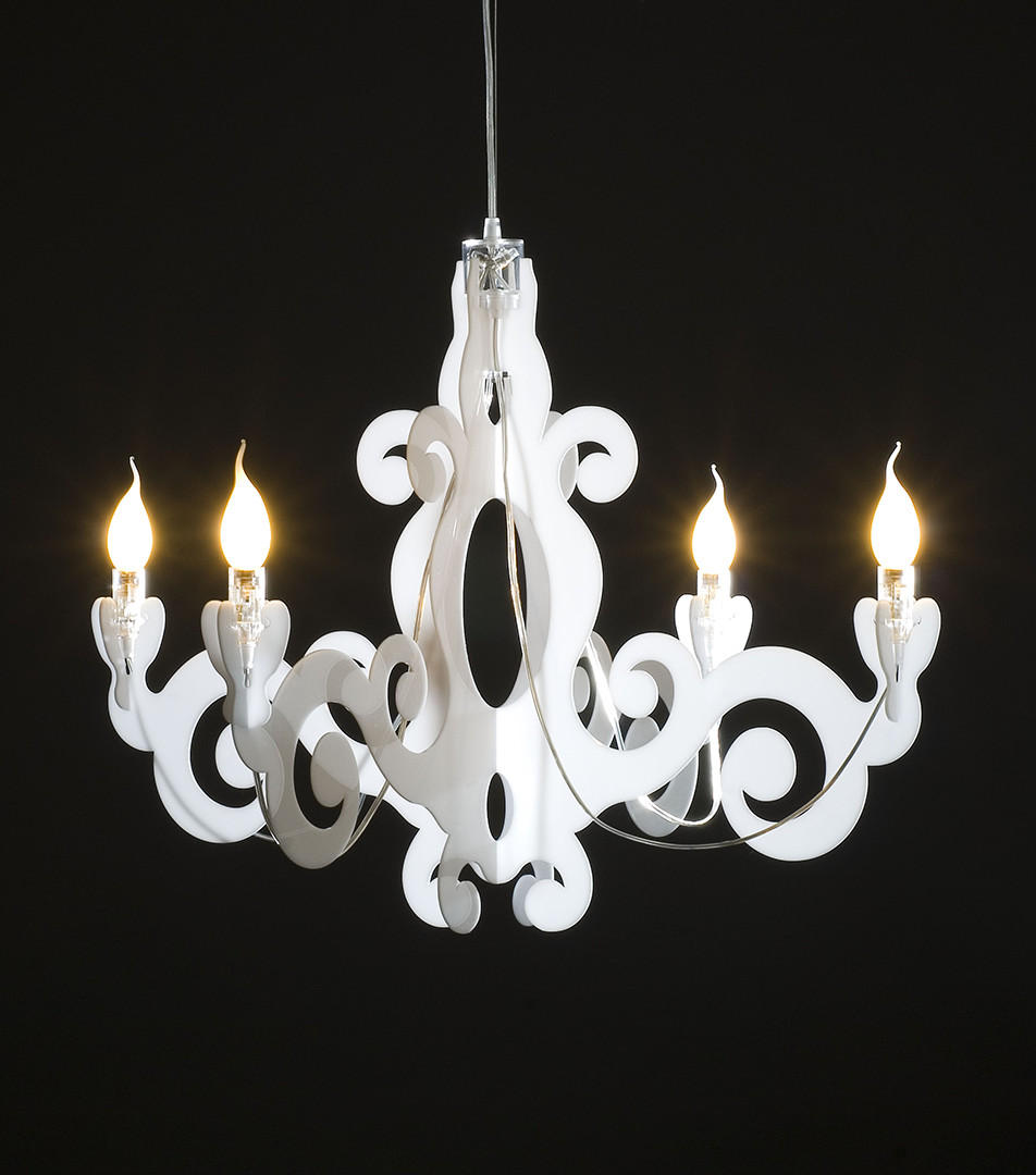 Lampada Barocco - sospensione in metacrilato - bianco
